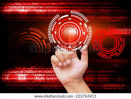 Hand pressing buttons with red technology background  - stock photo