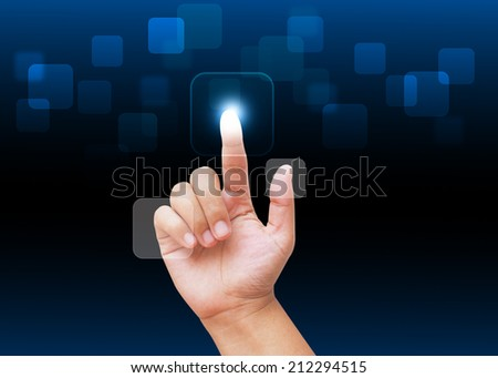 Hand pressing  buttons with technology background - stock photo