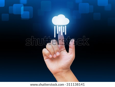 Hand pressing Clouds computing button with technology background  - stock photo