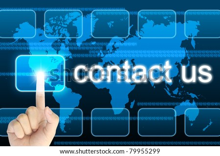hand pressing contact us button on a touch screen interface - stock photo