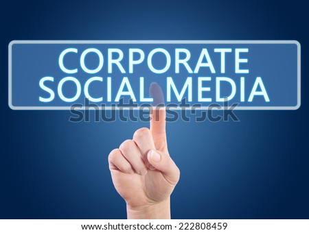 Hand pressing Corporate Social Media button on interface with blue background. - stock photo