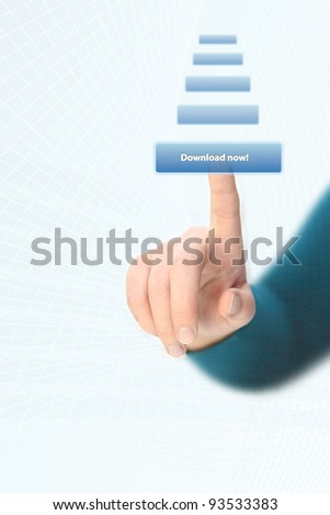 Hand pressing download button on touchscreen