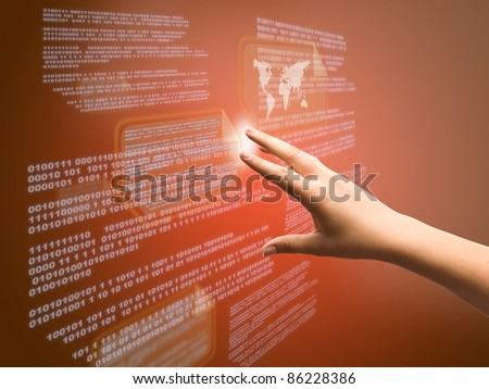 Hand pressing high tech type of modern buttons on a virtual background - stock photo