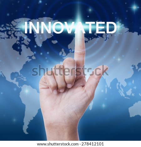 hand pressing innovated word button. business concept - stock photo