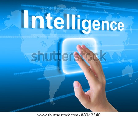 hand pressing intelligence button on a touch screen interface - stock photo
