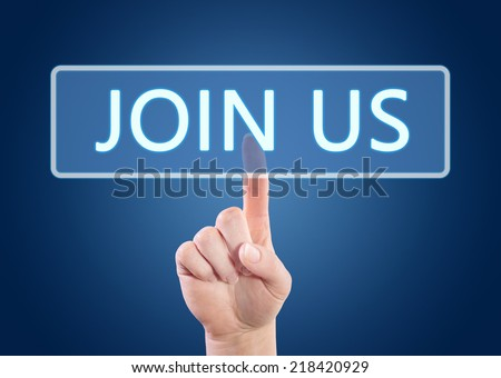 Hand pressing Join us button on interface with blue background. - stock photo