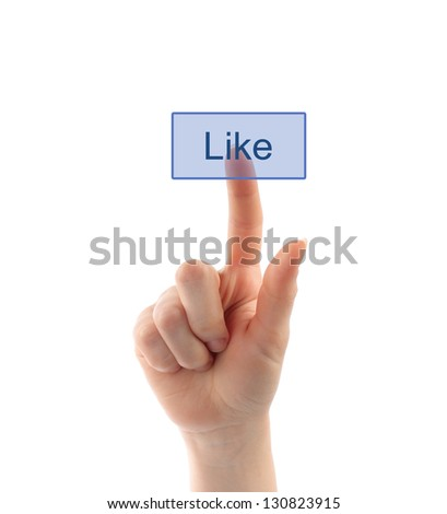 Hand pressing like button - stock photo