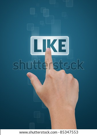 Hand pressing Like button on a flow of buttons on blue background - stock photo