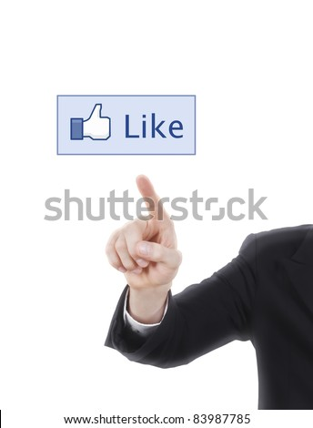 hand pressing like screen button - stock photo