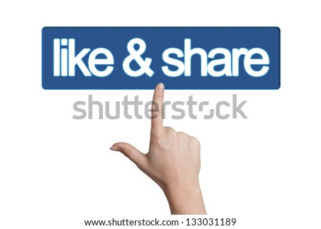 Hand pressing like & share button isolated on white background - stock photo