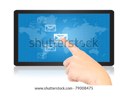 Hand pressing mail world wide on the tablet. - stock photo