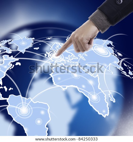 Hand pressing map in space - stock photo
