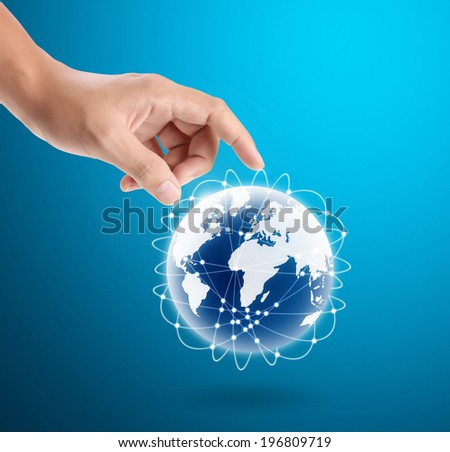 Hand pressing modern social buttons ,Some components of this image are provided courtesy of NASA  - stock photo
