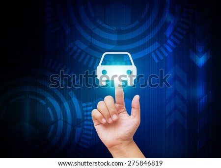 Hand pressing new car symbol on technology background - stock photo