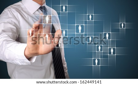 hand pressing on a friend, community concept - stock photo