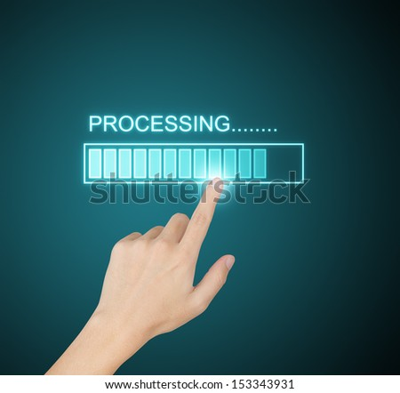 hand pressing processing progress on screen - stock photo
