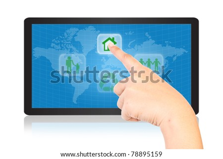 Hand pressing recycle icon on tablet . - stock photo