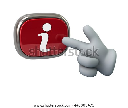 Hand pressing red info button isolated on white background - stock photo