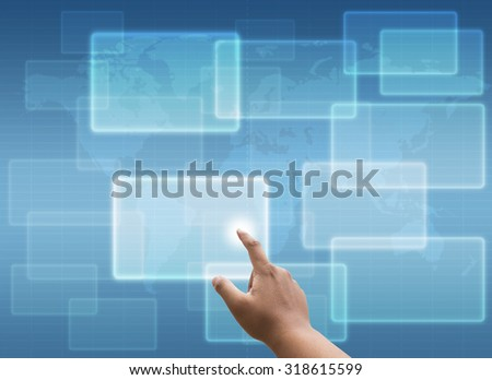 hand pressing Social media and networking concept and virtual touch screen - stock photo
