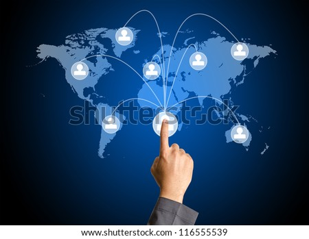 hand pressing social media icon - stock photo