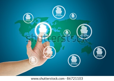 hand pressing social network button - stock photo