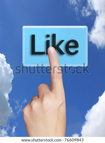 hand pressing Social Network icon - stock photo