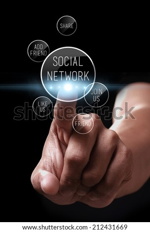 Hand pressing social network icon on a virtual screen - stock photo