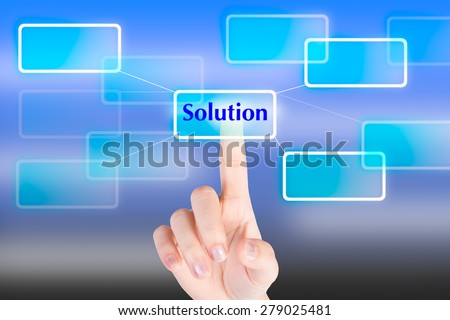 "Hand pressing ""Solution""  button with technology background"