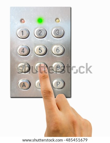 hand pressing the combination of a keypad with green light as concept of correct password