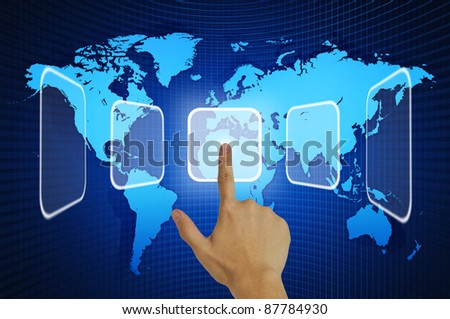 Hand pressing touchscreen button on the world map background - stock photo