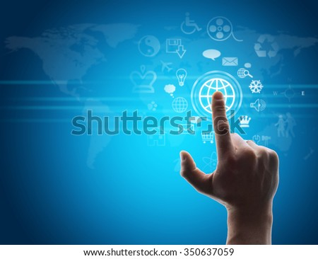 Hand pressing virtual button on futuristic holographic screen with world map - stock photo