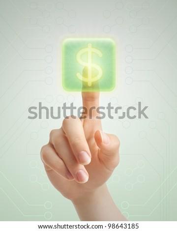 Hand pressing virtual symbol of dollar. - stock photo