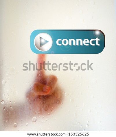 hand pressing yes button on touching screen - stock photo