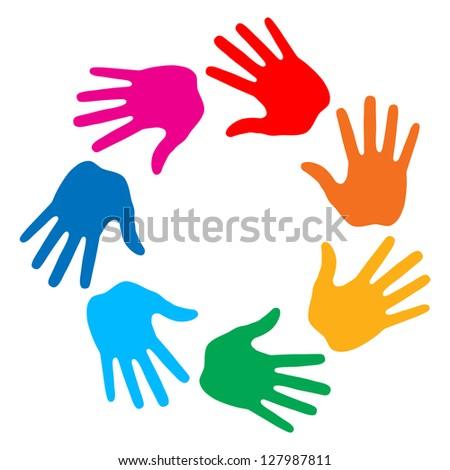 Hand Print icon 7 colors logo, raster illustration - stock photo