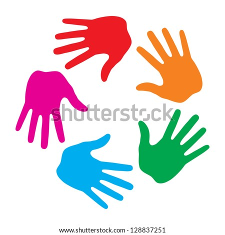 Hand Print icon 5 colors logo, raster illustration - stock photo