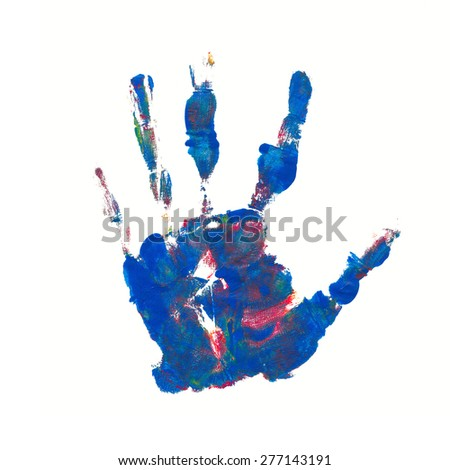 hand print in mixed colors - blue and red