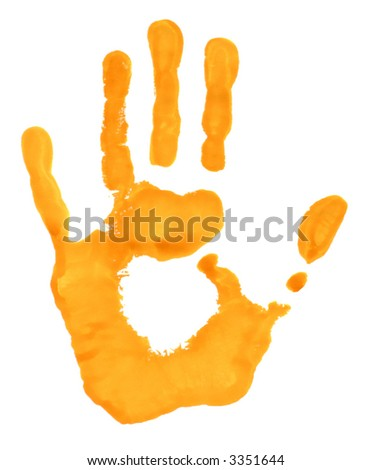 Hand print in yellow paint - stock photo