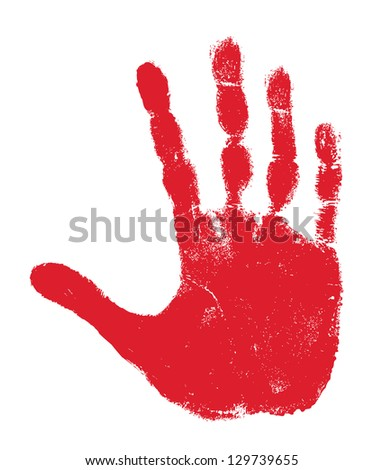Hand print isolated on white - stock photo