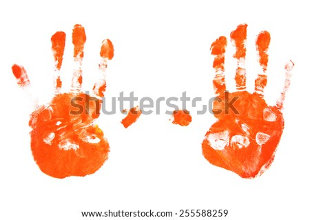hand print red isolated on white background. orange palm, watercolor - stock photo