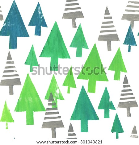 Hand Printed Christmas Trees Wallpaper Design Seamless Pattern With Stamped Tree Silhouettes
