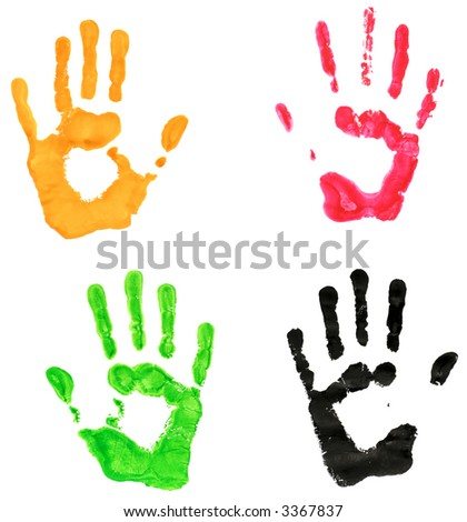 Hand prints in different colors - stock photo