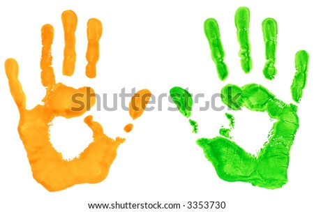 Hand prints in green and yellow - stock photo