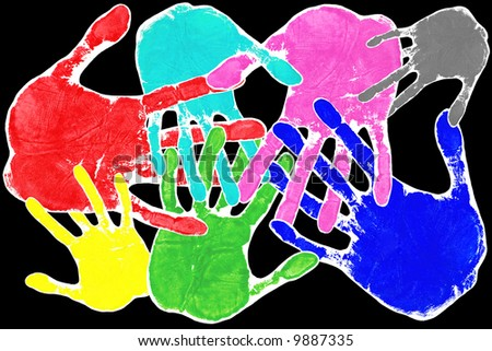 Hand prints in many colours with interlocking fingers on a black background. This image contains all the colours important to photography,RGB,CMYK,black and white. - stock photo