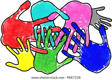 Hand prints in many colours with interlocking fingers on a white background. - stock photo
