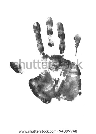 Hand prints on a white background - stock photo
