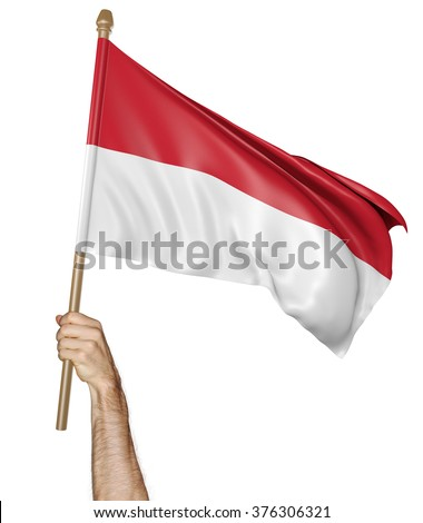 Hand proudly waving the national flag of Indonesia - stock photo