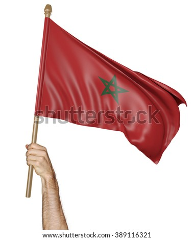Hand proudly waving the national flag of Morocco - stock photo