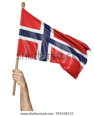 Hand proudly waving the national flag of Norway - stock photo