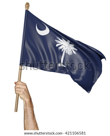Hand proudly waving the state flag of South Carolina, 3D rendering - stock photo