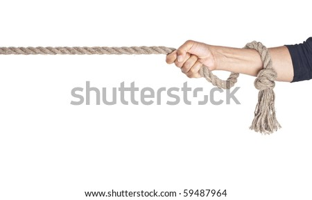 Hand pull a rope. Isolated white background - stock photo